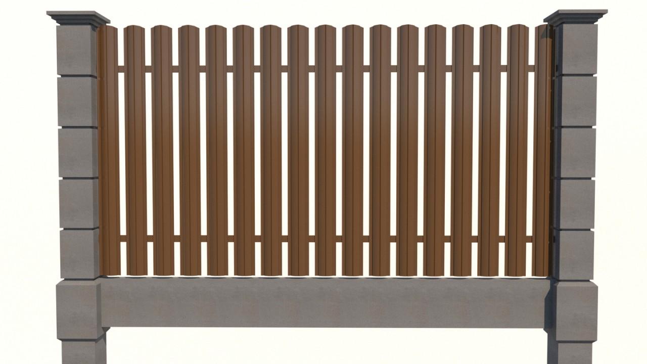 модульный забор с металлоштакетником